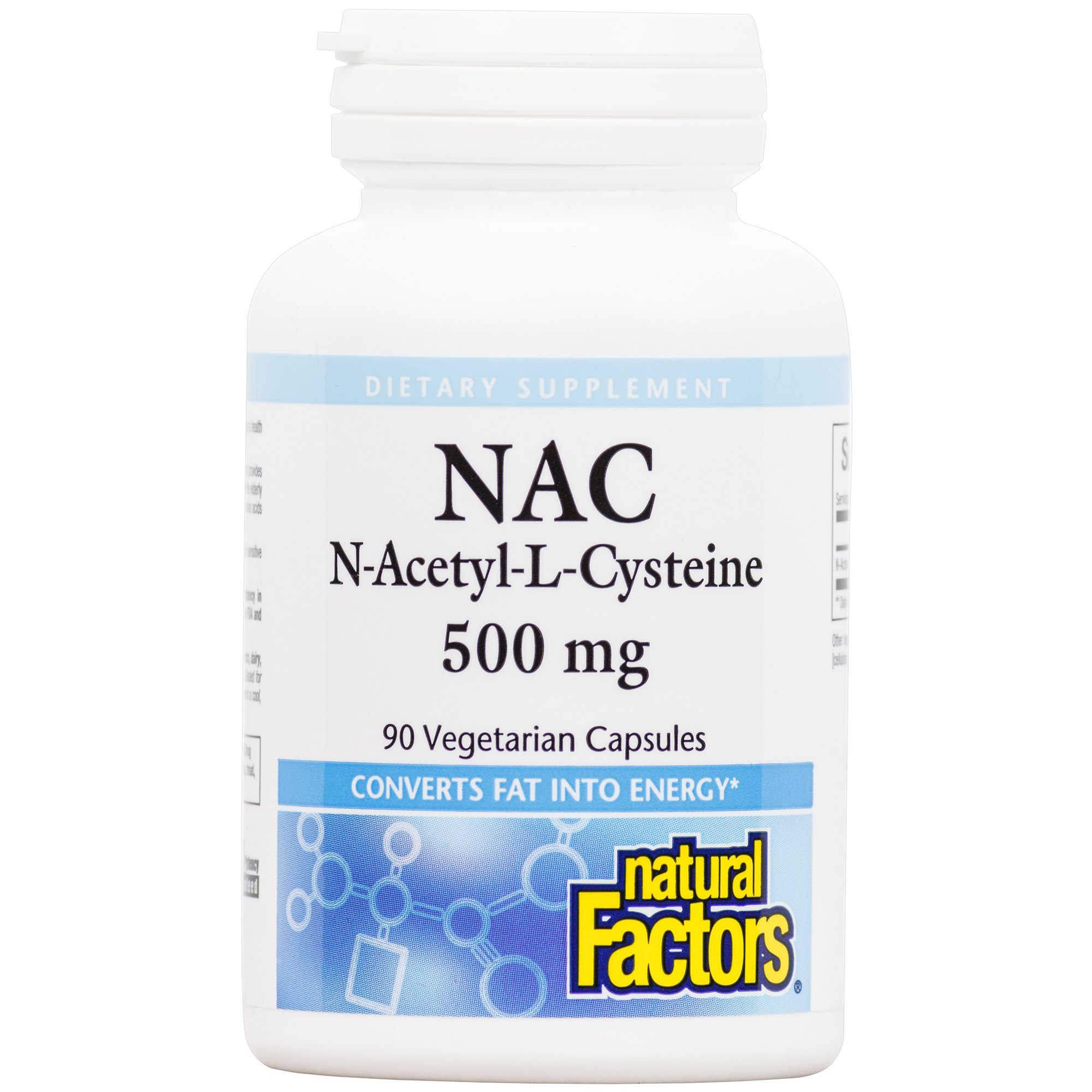 Natural Factors - N-Acetyl-L-Cysteine 500mg, Supports Antioxidant Activity & Converting Fat to Energy, Gluten Free, 90 Vegetarian Capsules
