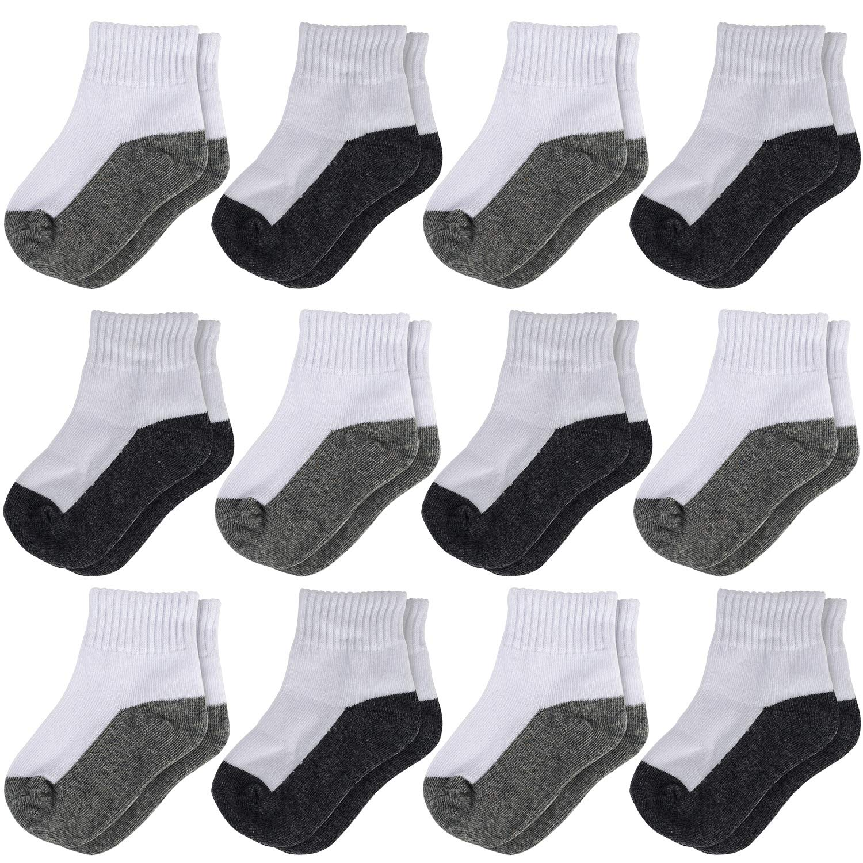 La Volupte Kid Boy Girl Cotton Athletic Classic Crew Ankle Socks 12 Pack
