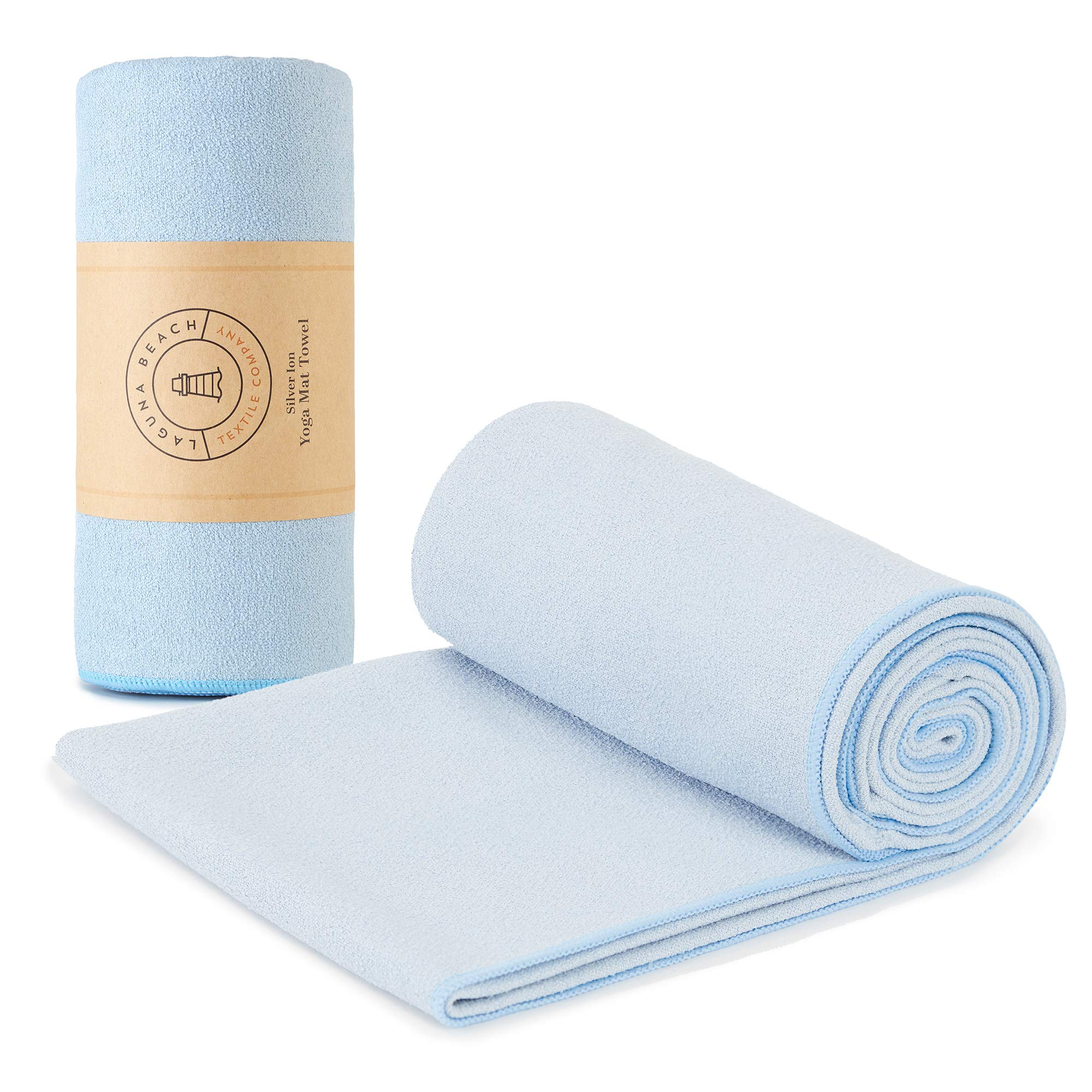 Yoga Mat Towel by Laguna Beach Textile Co | Baby Blue | Odorless, Antimicrobial/Antibacterial | Sweat Absorbent, Non-Slip Bikram Hot Yoga Towel ...