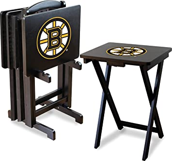 Imperial Officially Licensed NHL Merchandise: Foldable Wood TV Tray Table  Set With Stand, Boston
