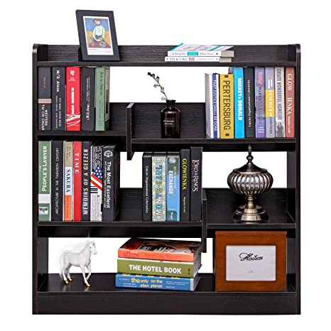 SONGMICS 4 Tier Open Wooden Bookshelf Bookcase Display Holder OrganizerEspresso ULBC53BR