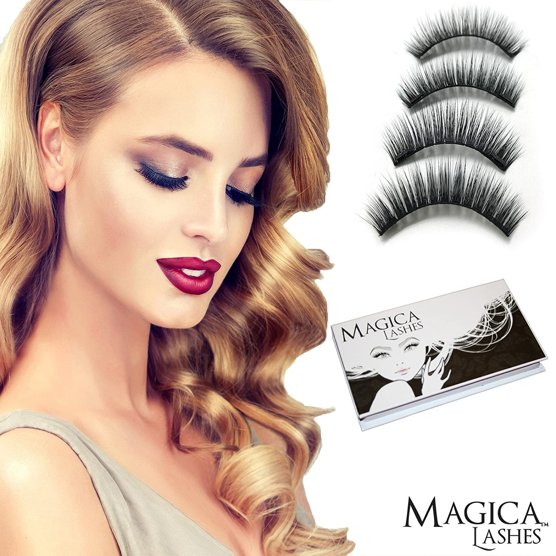 Pestañas Magnéticas, Dual Magnetic Eyelashes, 100% 3D Mink Pestañas, Reutilizable Es Libre de Crueldad, Uno Par Hecho a Mano Calidad Premium De Magica ...