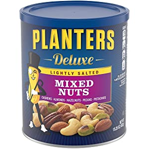 PLANTERS Deluxe Lightly Salted Mixed Nuts, 15.25 oz. Resealable Container - Reduced Sodium Mixed Nuts with Cashews, Almonds, Hazelnuts, Pistachios & Pecans - Vegan Snacks, Kosher
