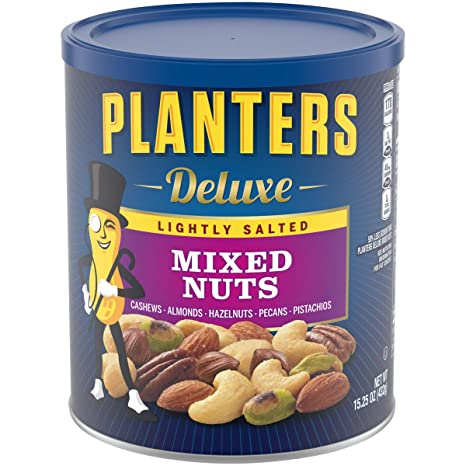 Planters Deluxe Lightly Salted Mixed Nuts (15.25 Oz. Canister) - Variety Mixed Nuts with Cashews, Almonds, Hazelnuts, Pecans & Pistachios