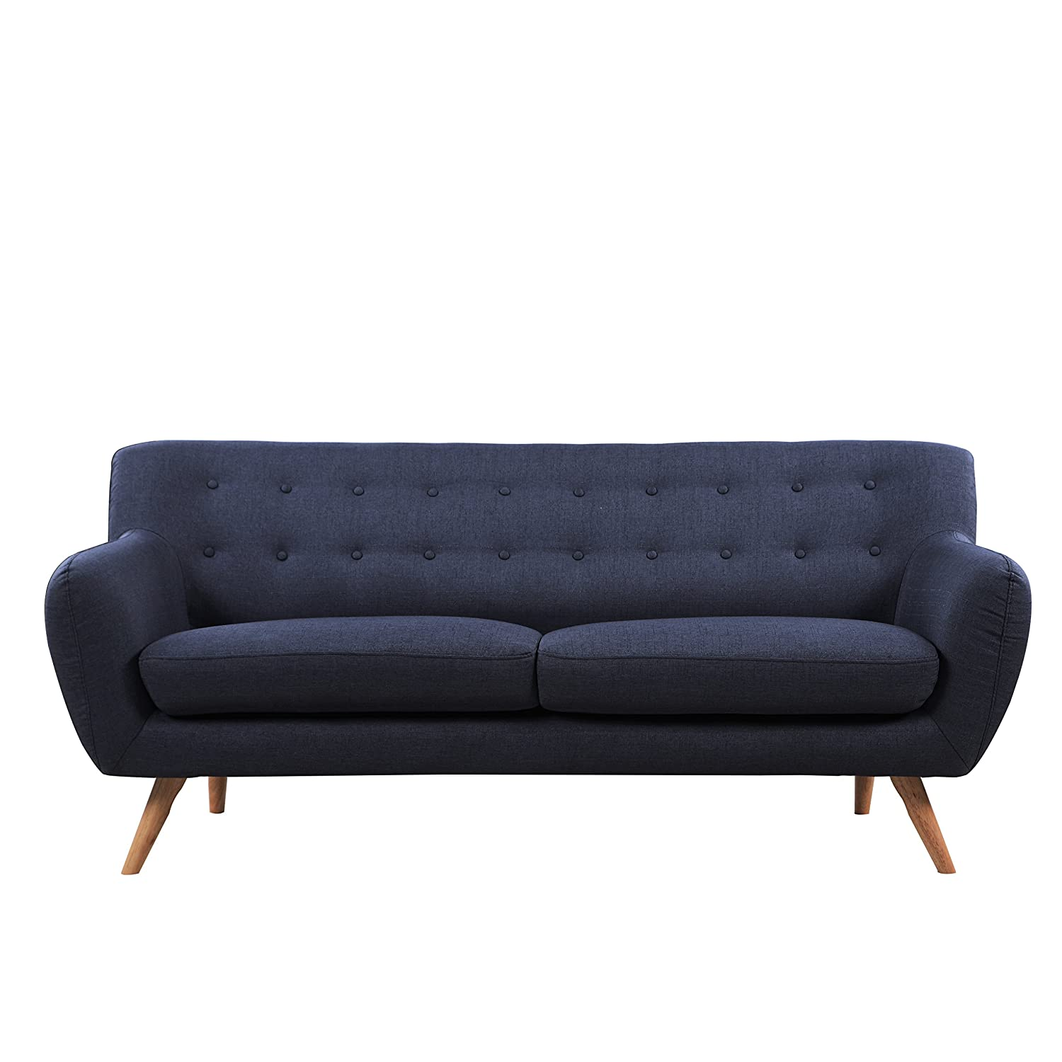Amazon.com: Mid Century Modern Linen Fabric Sofa, Loveseat In Colors Light  Grey, Polo Blue, Blue, Yellow And Red (Blue, 2 Seater): Kitchen U0026 Dining