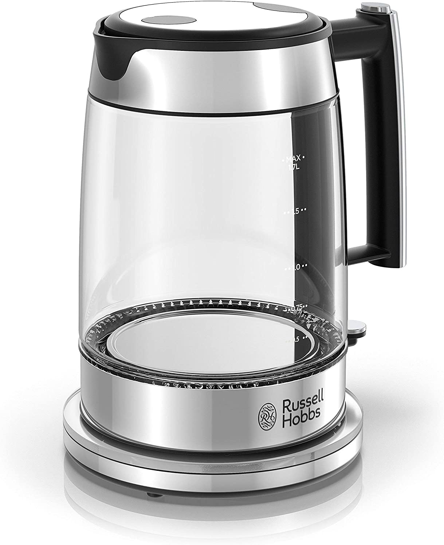 Russell Hobbs Glass 1.7L Electric Kettle, Silver & Stainless Steel, KE7900GYR (Renewed)