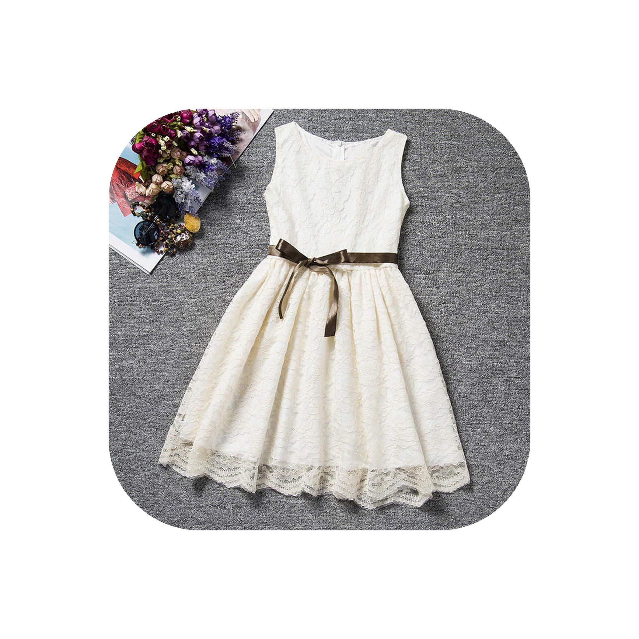 Summer Lace Flower Girl White Dress Children's Girl Dresses Girl Party Wear Costume for Kids,Beige,10