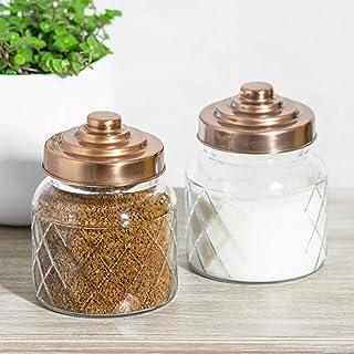 Tapas genéricas para té, Tazas de azúcar de Cobre, 2 Botes de Almacenamiento de Cristal para gallina y contai, contenedores de Cocina Tazas de azúcar de Cobre Generic NV_1001008433-WHT-UK78-S2-181016