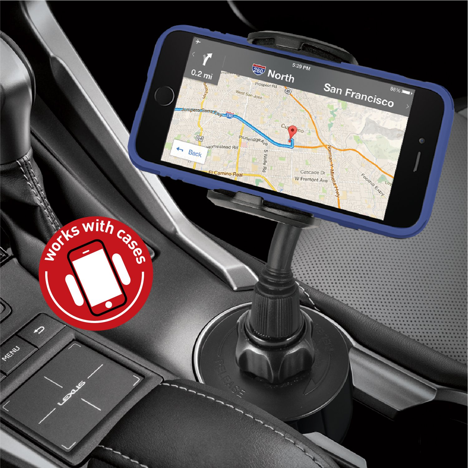 Macally Adjustable Automobile Cup Holder Phone Mount for iPhone X 8 8+ 7 7 Plus 6s Plus 6s SE Samsung Galaxy S9 S9+ S8 S7 Edge S6 S5 Note 5, iPod, Smartphones, MP3, GPS etc (MCUPMP) by Macally (Image #6)