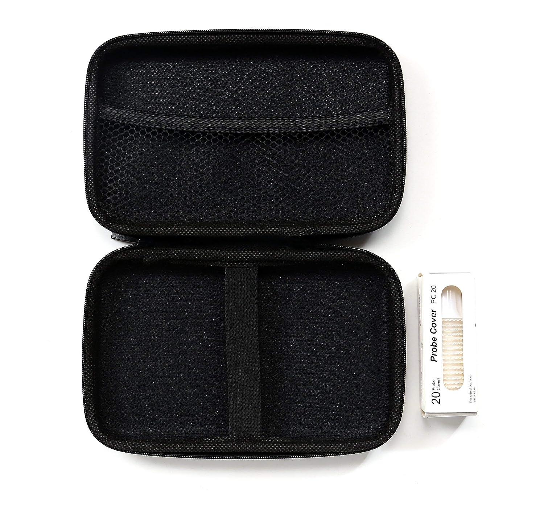 Housse de protection Etui de rangement thermom/ètre auriculaire Braun Thermoscan x20 capuchons de rechange gratuits inclus Couleur: Noir Sacoche