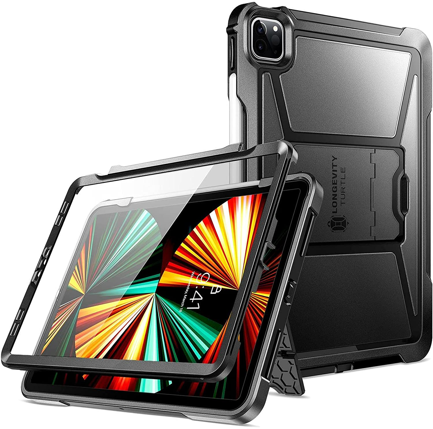 Ztotop Case for iPad Pro 12.9 Case 2021 Released, Rugged Cover with Built-in [Pencil Holder + Screen Protector] Designed for iPad Pro 12.9 Inch 5th Gen, Black