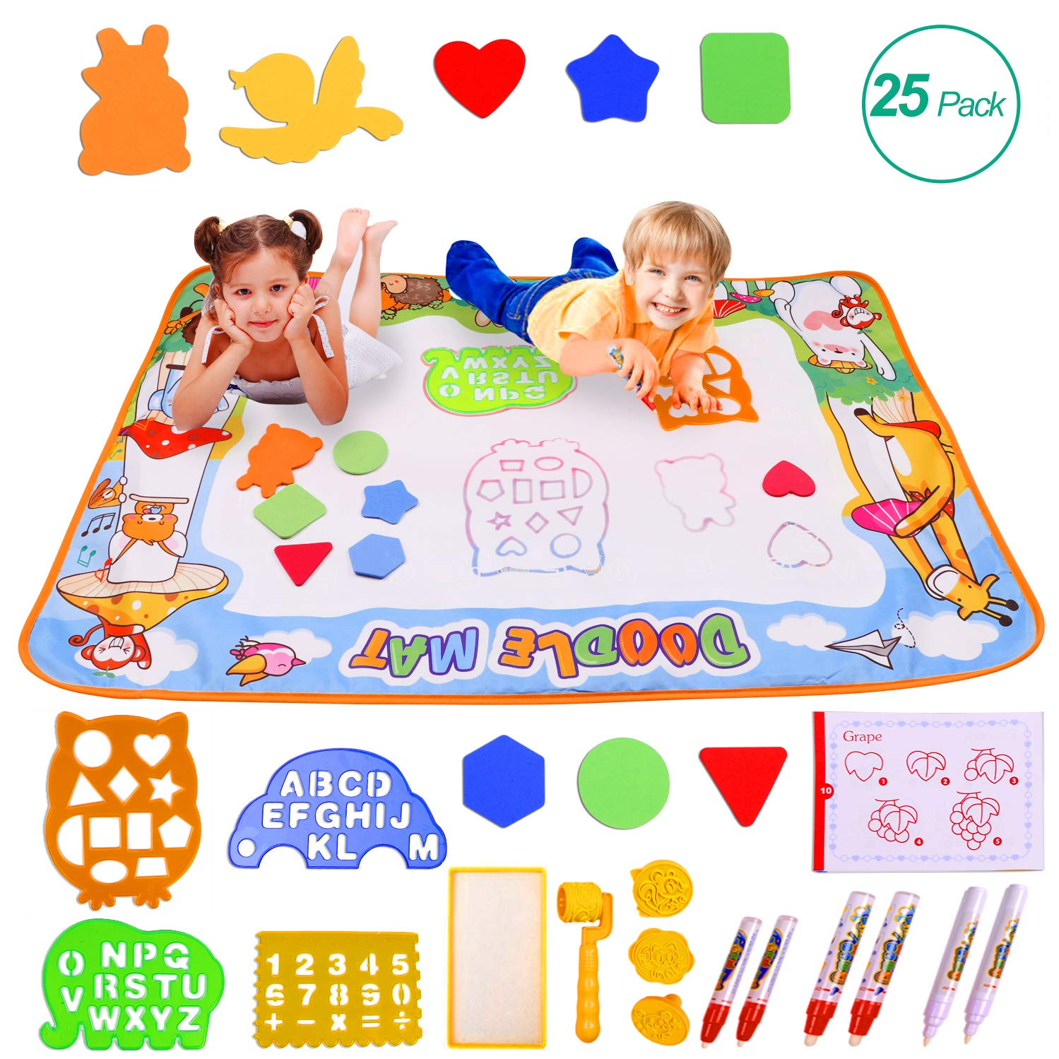 "Miserwe Large Aqua Doodle Mat Water Writing Doodle Drawing Mat Neon Colors Board, with 25 Pack Drawing Accessories for Kids Toys Toddlers Educational Girls Boys Size 39.3"" X 27.5"""
