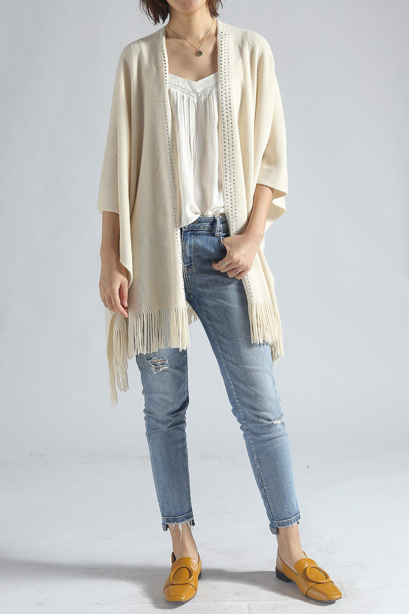 Women Poncho Shawl Cardigan Open Front Elegant Cape Wrap by Moss Rose (Image #5)