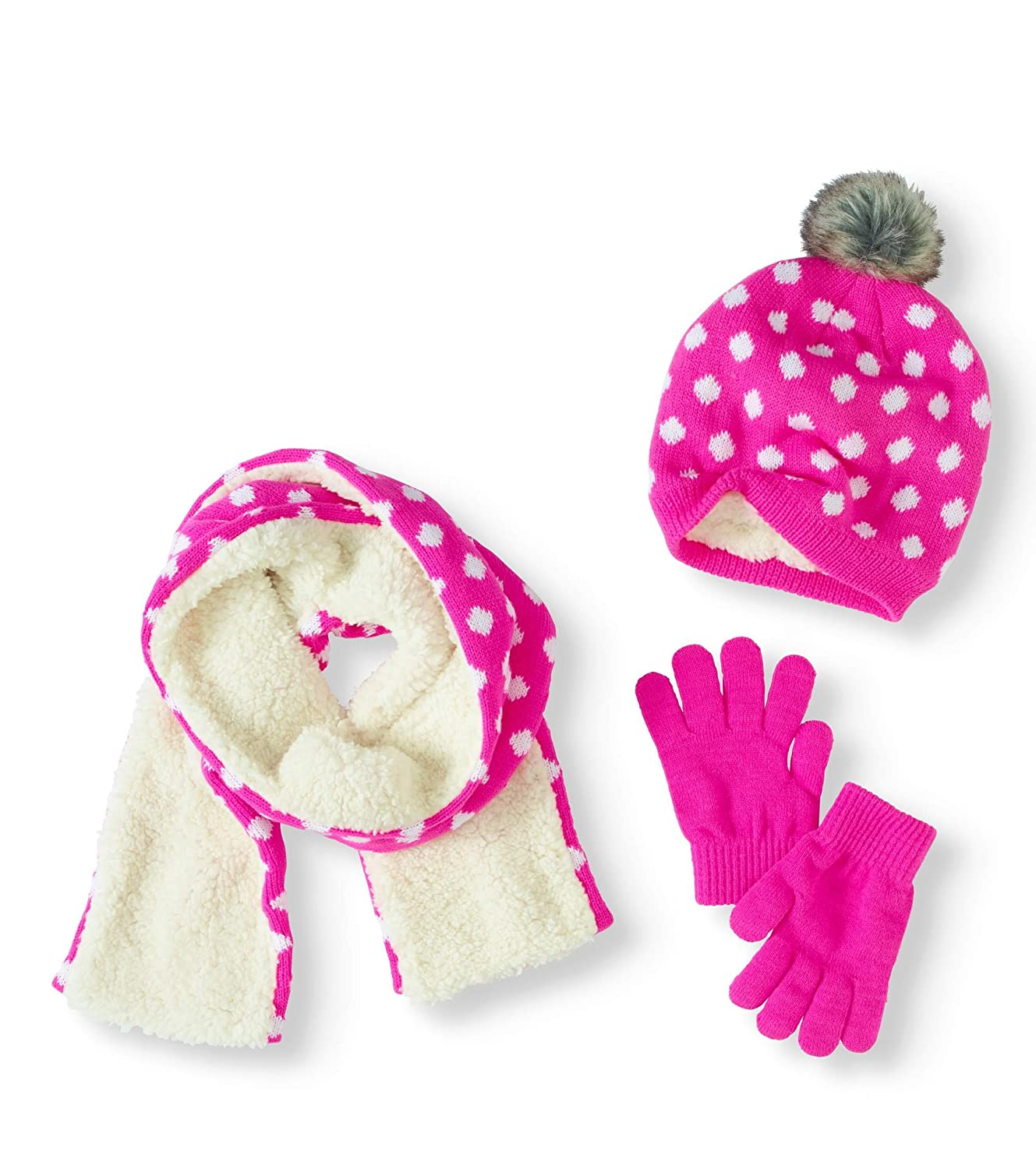 Faded Glory Girls 3-PC Scarf Hat Gloves Knit Set Assorted One Size
