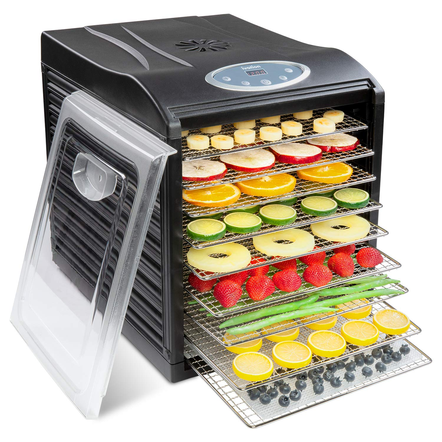 Ivation Stainless Steel Tray Electric Food Dehydrator Machine - 9 Trays - 600w - Digital Timer & Temperature Control with Auto Shutoff - 95F to 158F for Drying Beef Jerky, Fruits, Vegetables & Nuts, BPA Free