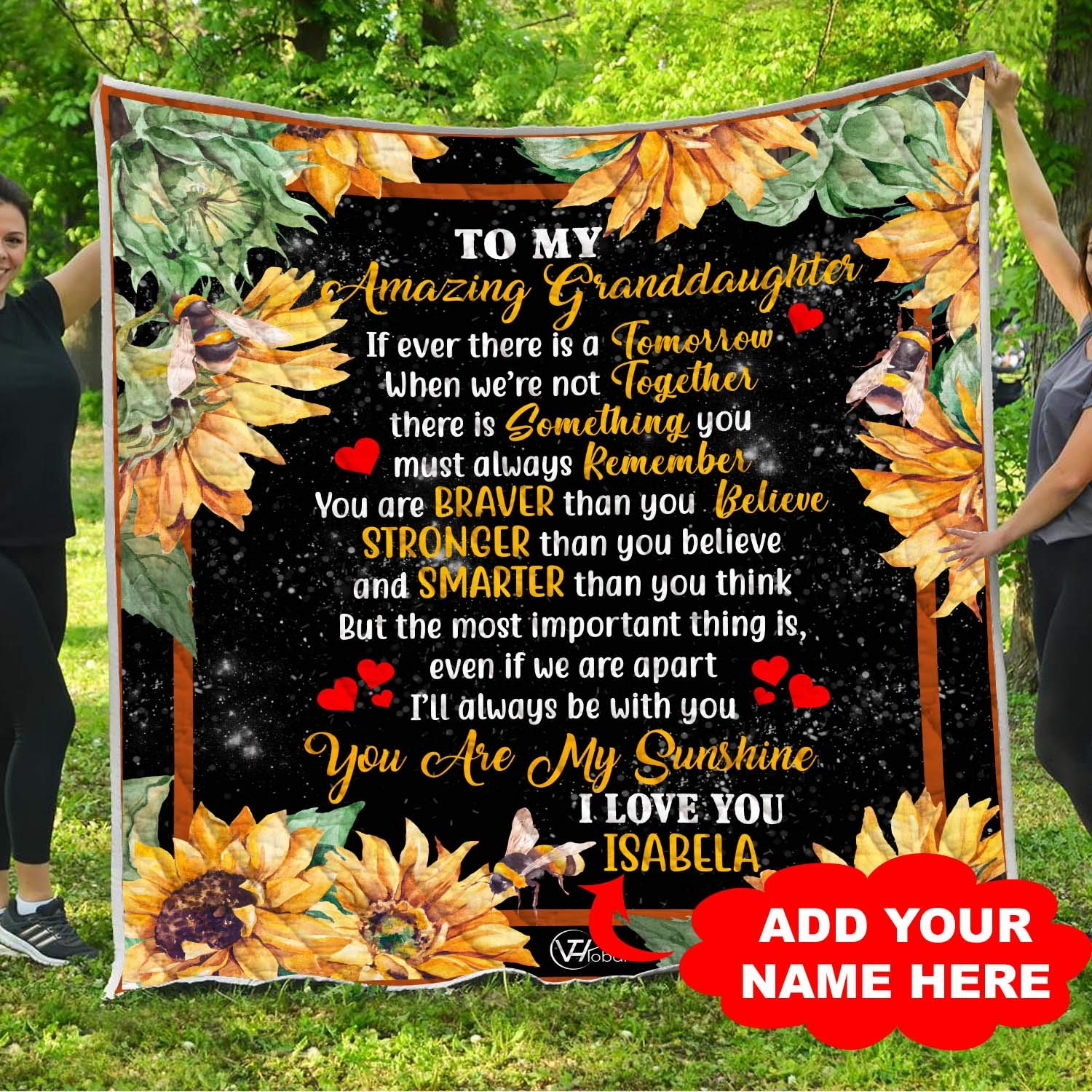 Personalized Name To My Granddaughter You are My Sunshine Sunflower Quilt Throw Blanket Xmas Birthday Little Girl Never Forget I Love You Baptism Keepsake Presents from Grandmother Grandma Nana