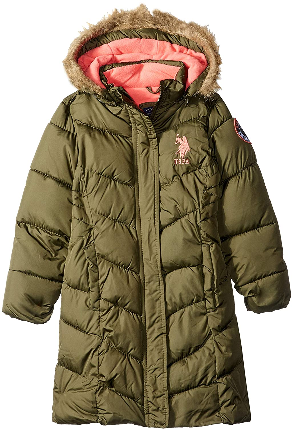 U.S. Polo Assn. Girls' Long Bubble Jacket US Polo Association O_UC24H