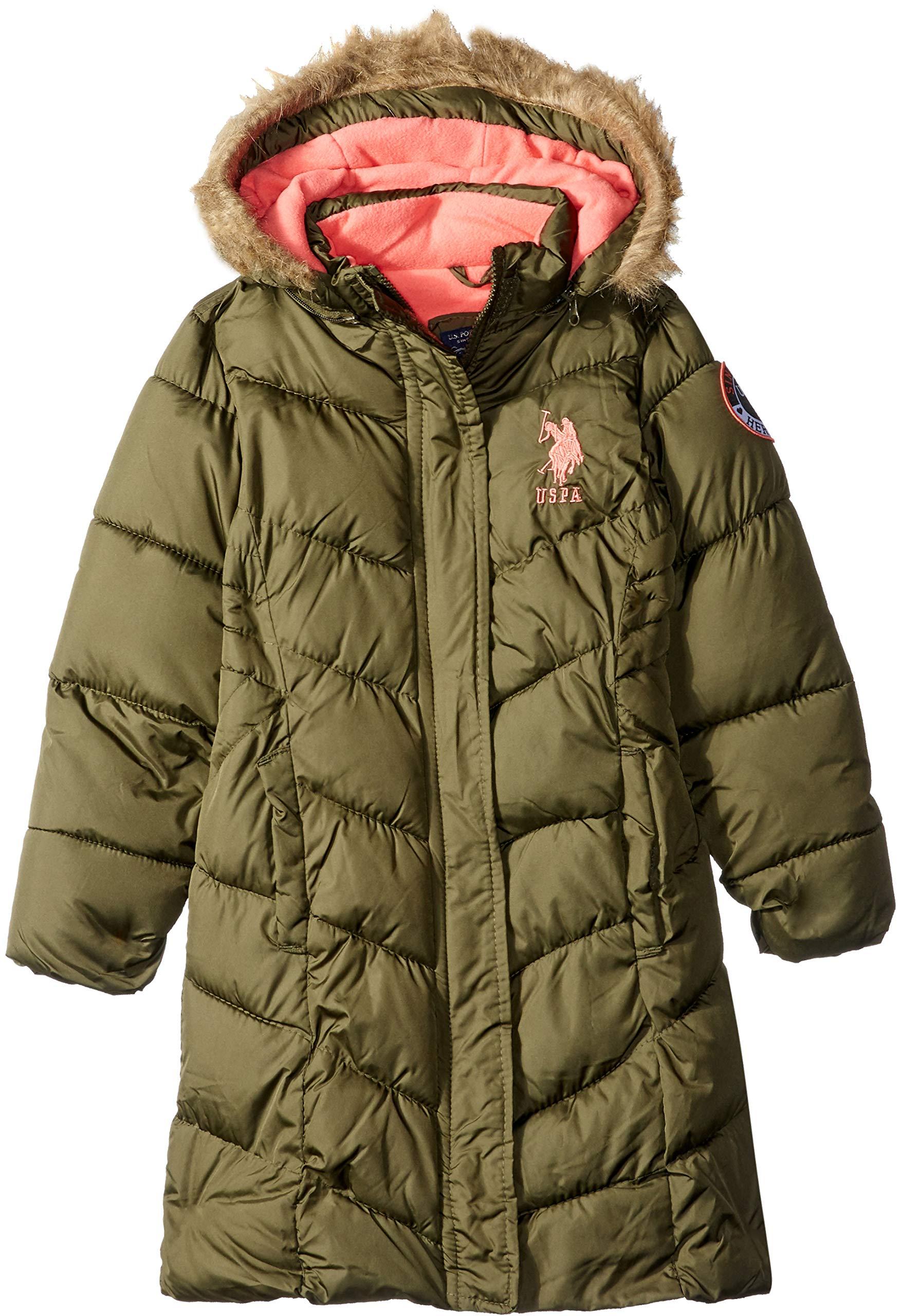 US Polo Association Girls' Big Long Bubble Jacket, Olive, 10/12 by U.S. Polo Assn. (Image #1)
