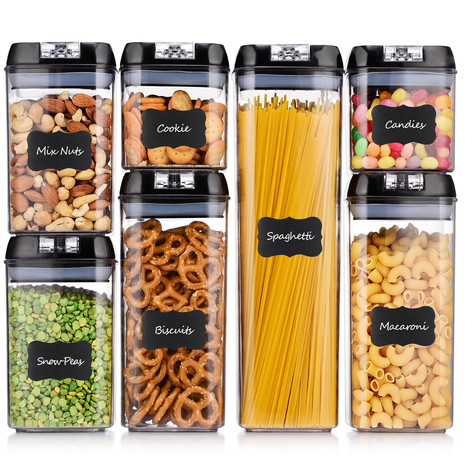 ME.FAN Airtight Food Storage Container Set [7-Piece Set] Durable Seal Pot- Cereal Storage Containers - FREE 24 Chalkboard Label - Kitchen Cabinet Organization - BPA Free - Clear Plastic with Black Lid