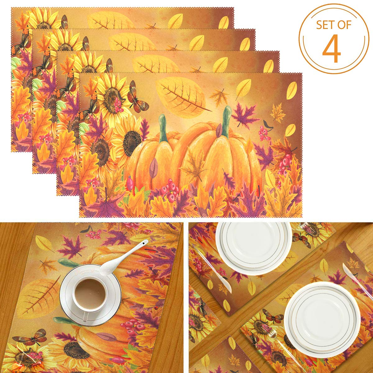 "Wamika Sunflowers Pumpkins Fall Placemats Butterfly Maple Leaf Autumn Place Mats Non-Slip Washable Heat Resistant Table Mats for Kitchen Dining Home Decor 12"" X 18"" Set of 4"