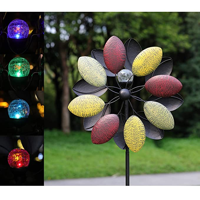 Solar Wind Spinner 7 Foot Tricolor Multi-Color LED Lighting by Solar Powered Glass Ball. Perfect Gardening Gift Amongst Wind Spinners and Windmills Yard Art with Kinetic Dual Direction Spinning