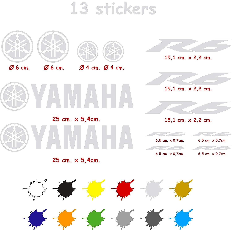 Blanco Kit de Pegatinas Troqueladas Compatible Yamaha r6 Vinilo 5 a 7 a/ños