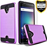 BLU R1 HD Case, Circlemalls 2-Piece Style Hybrid Shockproof Hard Case Cover With [Premium Screen Protector] And Touch Screen Pen (Violet Purple)