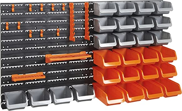 WALL MOUNTED TOOL PEG BOARD SET GARAGE STORAGE BINS WORKSHOP RACK SHED ORGANISER