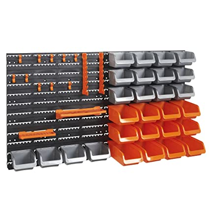 VonHaus 44 Piece Wall Mounted Pegboard Hook Storage Bins and Panel Set - DIY Garage  sc 1 st  Amazon.com : wall storage bin  - Aquiesqueretaro.Com