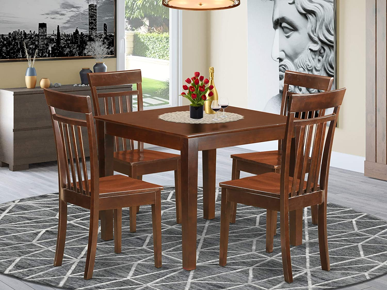 Amazon Com 5 Pcsmall Kitchen Table Set With A Dining Table And 4 Dining Chairs In Mahogany Table Chair Sets
