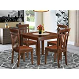 5 PcSmall Kitchen Table set with a Dining Table and 4 Dining Chairs in Mahogany