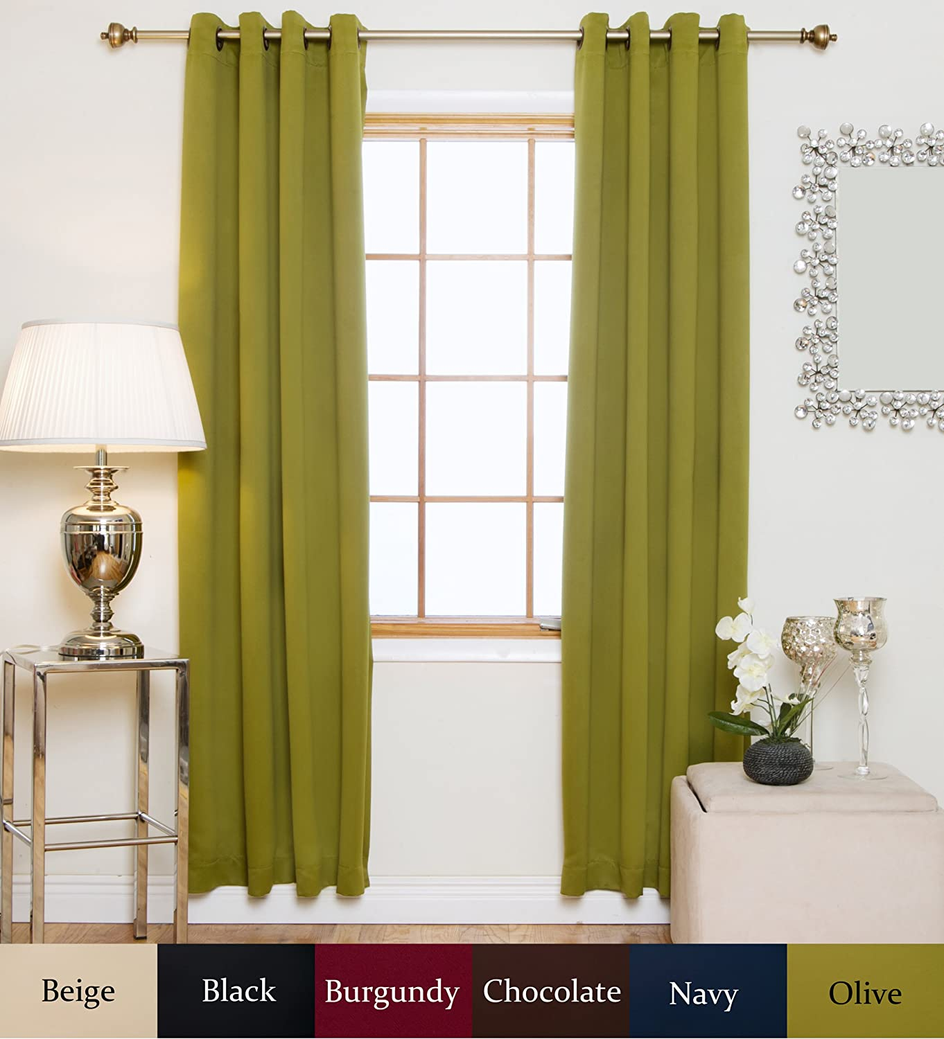 Blackout Curtain Olive Antique Brass Grommet Top Thermal Insulated 96 Inch Length Pair
