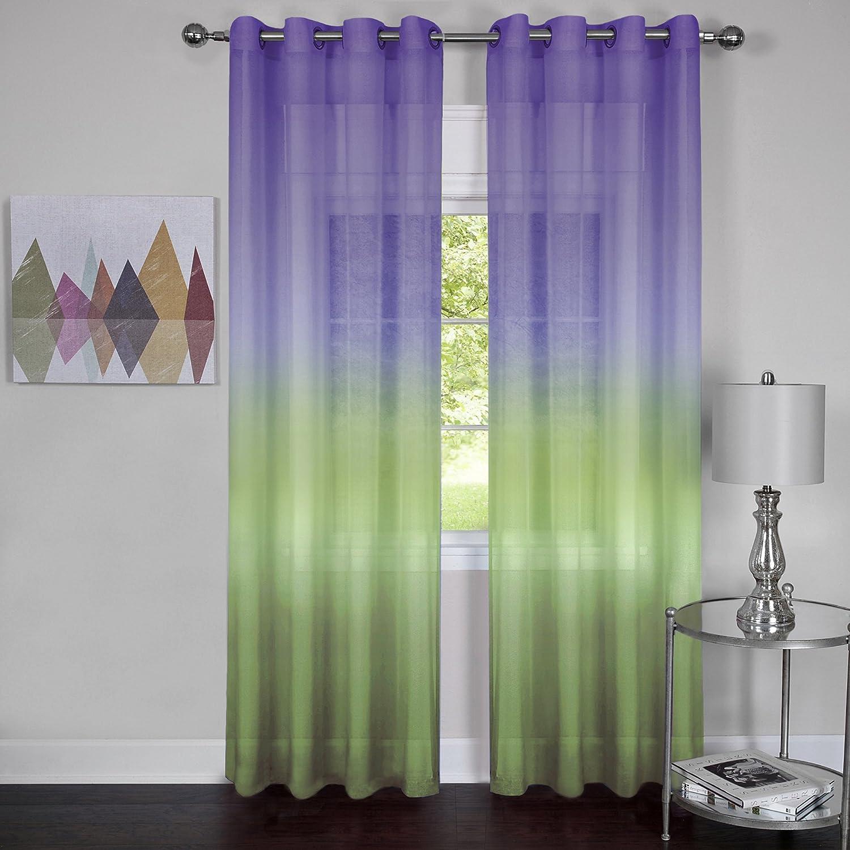 Achim Home Furnishings, Purple Rainbow Grommet Window Curtain Panel, 52