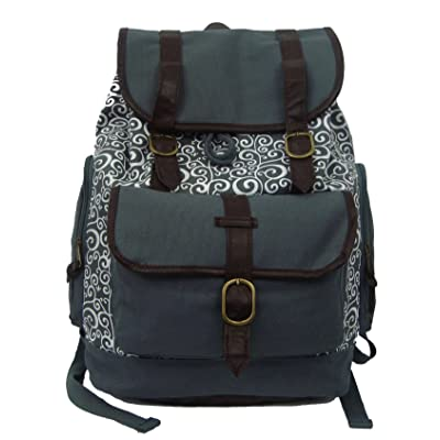 "K-Cliffs Canvas Laptop Book-Bag Cotton Daypack Vintage Casual Canvas Laptop Backpack College Travel Student School Bag Fit 15.6"" Laptop iPad, Grey"