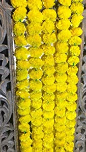 5 pack Artificial Yellow Marigold flower garlands/strings 5 ft long- for use in parties, celebrations, Indian weddings, Indian themed event, decorations, house warming, photo prop, Diwali, Ganesh Fest
