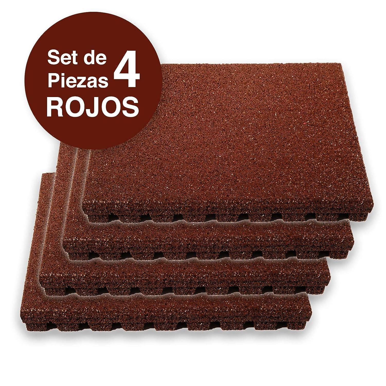 Resistentes al Impacto SET DE 4PZ Rojo PLAY PROTECT PRO etm Losetas de Goma Antica/ída 50 X 50cm |25MM Baldosas de Caucho