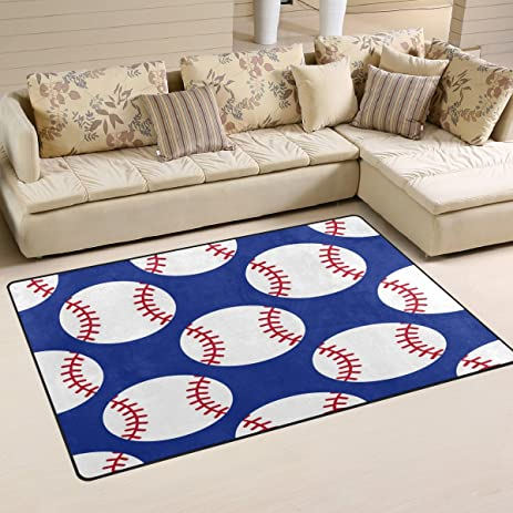 WOZO Baseball Sport Ball Area Rug Rugs Non Slip Floor Mat Doormats Living Room Bedroom
