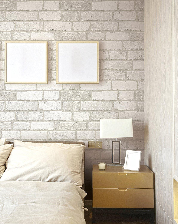 Brick Pattern Self Adhesive Peel And Stick Mural Contact Wallpaper White 50cm X 3m 19 6 X 118 0 15mm Waterproof Pvc Kitchen Bed Living Room Bathroom Shelf Drawer Liner Removable Enlavish