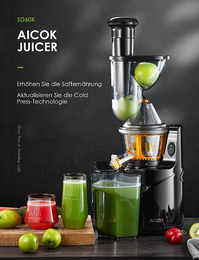 Exprimidor Slow Juicer de la marca Aicok, con tubo de entrada ancho de 75 mm, para zumo de frutas y verduras, se entrega con jarra de zumo y cepillo de ...