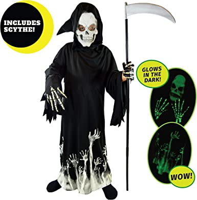 Grim Reaper Costume for Kids with Light Up Red Eyes