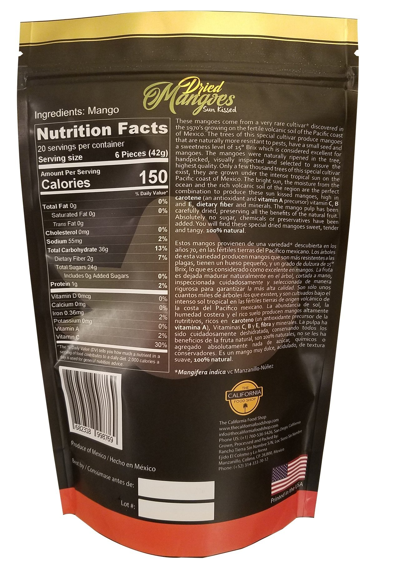 The California Food Shop All Natural Unsweetened Dried Mangoes 30 oz (850 gr)Pack Tropical Dried Mango Fruits Healthy and Delicious Snack No Added Sugar or Chemicals by The California Food Shop (Image #2)