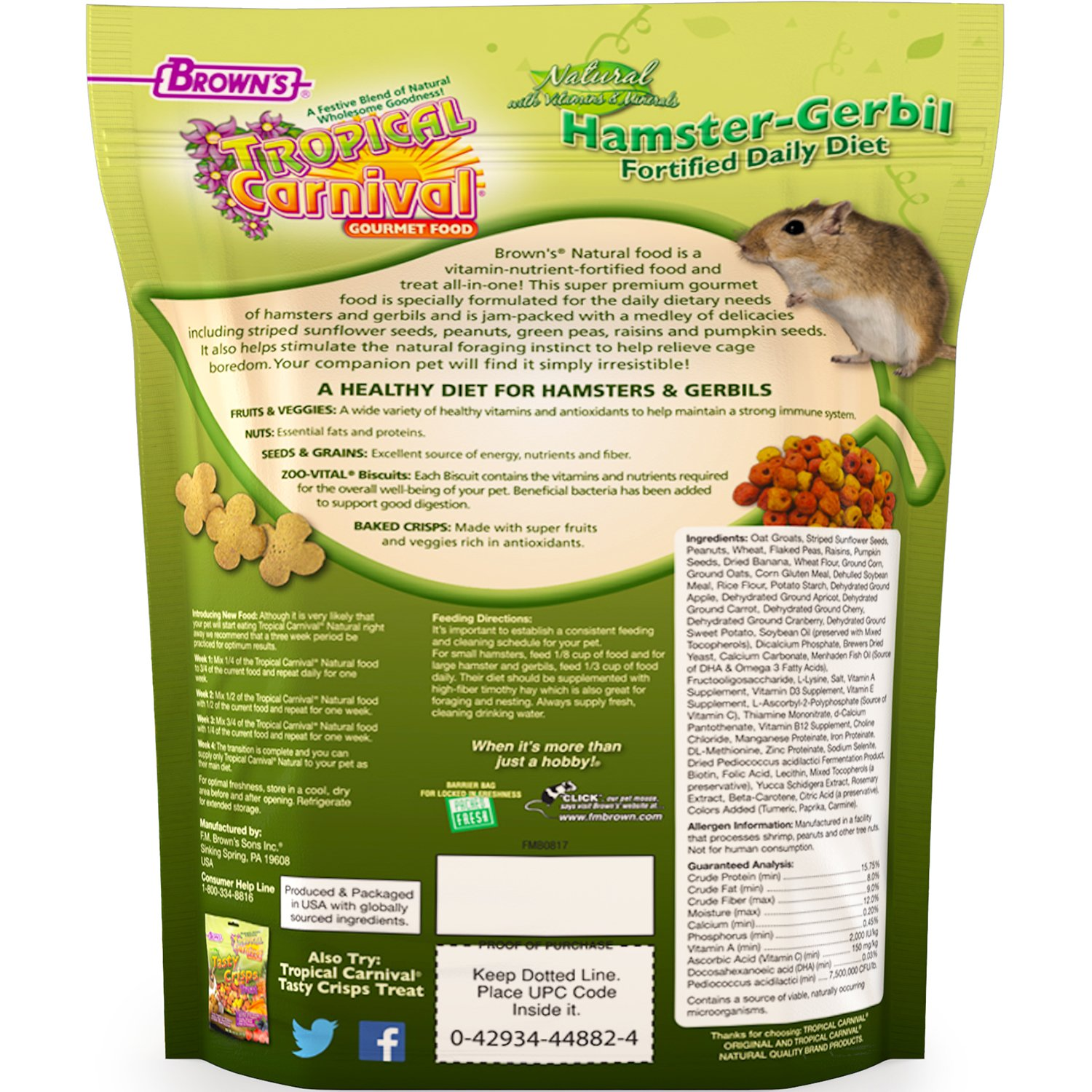 FM Brown's Tropical Carnival Natural Hamster-Gerbil Food, 2-lb Bag -  Vitamin-Nutrient Fortified Daily Diet, NO Filler Seeds, NO Artificial  Colors or
