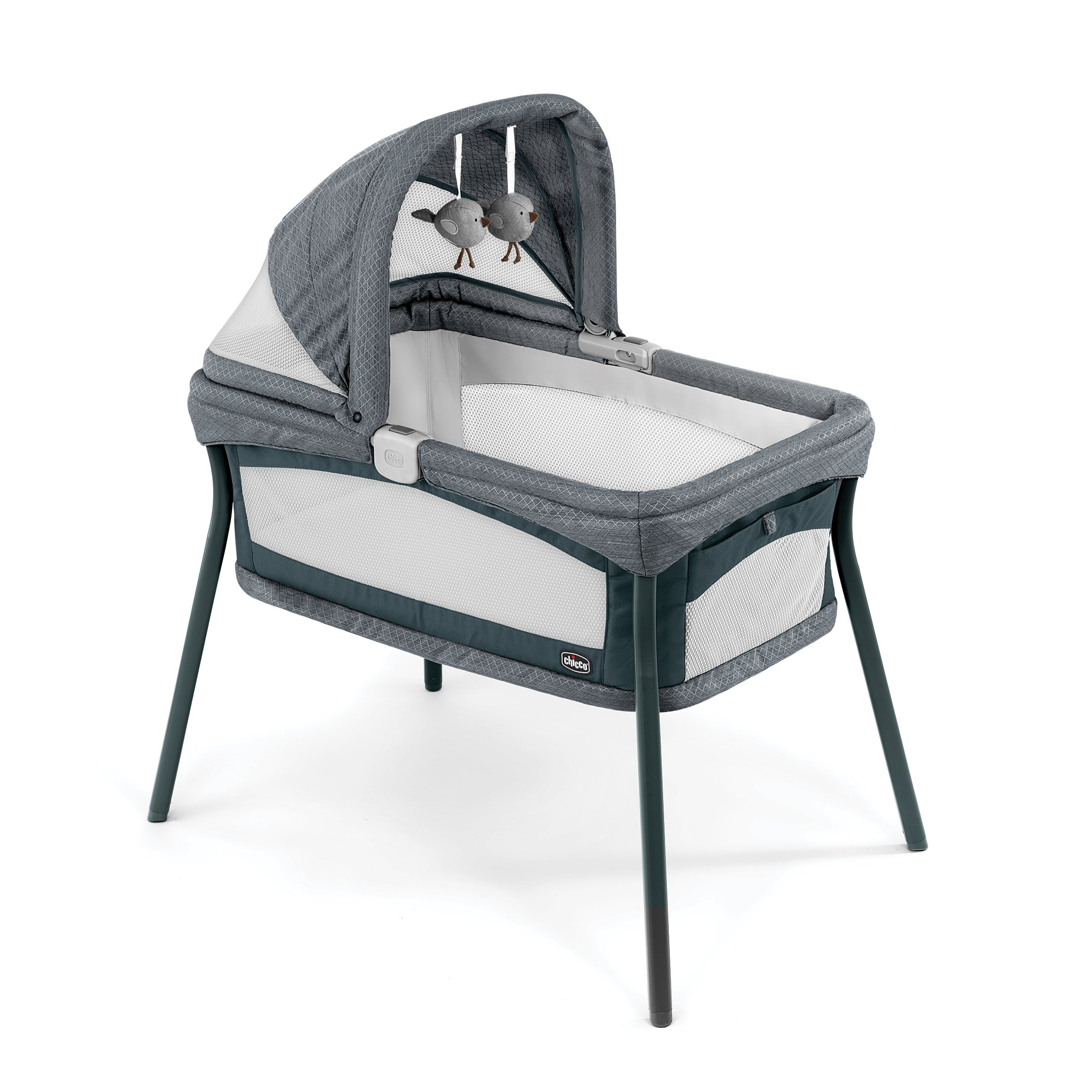 Chicco Lullago Nest Portable Bassinet, Travel Friendly Carry Bag, Removable and Machine-Washable Fabrics, Breathable Mesh Sides, Adjustable Canopy with Hanging Toys, Poetic by Chicco