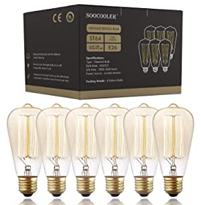 Edison Bulb 25W - 6 Pack - Dimmable Squirrel Cage Filament Style - Incandescent Vintage Antique Bulb for Home Light Fixtures - Clear Glass - E26/E27 Base - Edison Light Bulbs