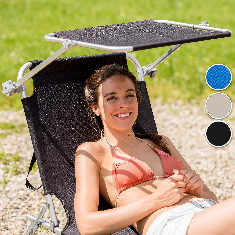 TecTake 800143 Outdoor Folding Aluminium Garden Sun Lounger with Sunshade Recliner Chair Black   No. 401427