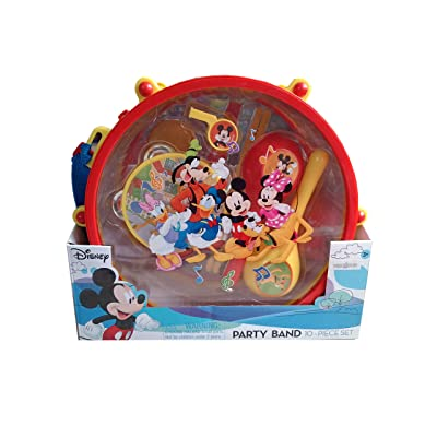 Disney Mickey Mouse Clubhouse Mickey's Party Band 10 Piece Set Music Instruments: Drum & Sticks,Flute,Castanets,Tambourine,Maracas,Whistle I Kids Musical Instrument: Toys & Games