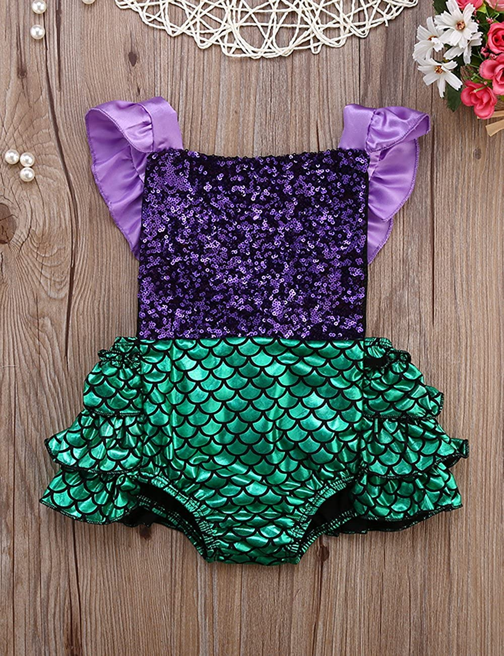 Gogoboi Mermaid Clothes Sleeveless Bodysuit Romper for Baby Girl