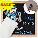 Oak Frame Felt Letter Board 10x10 Inch Changeable Letter Board with Stand Wall Mount Hanging Rope Letters Storage Bag for 290 Blue White Letters Numbers Punctuation