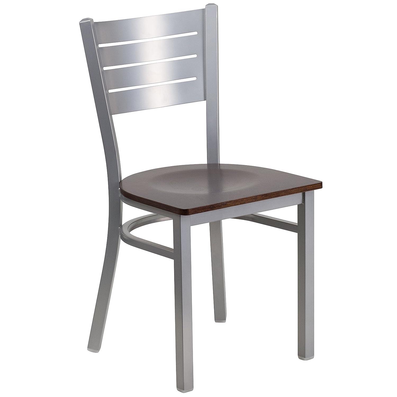 Flash Furniture HERCULES Series Silver Slat Back Metal Restaurant Chair – Walnut Wood Seat