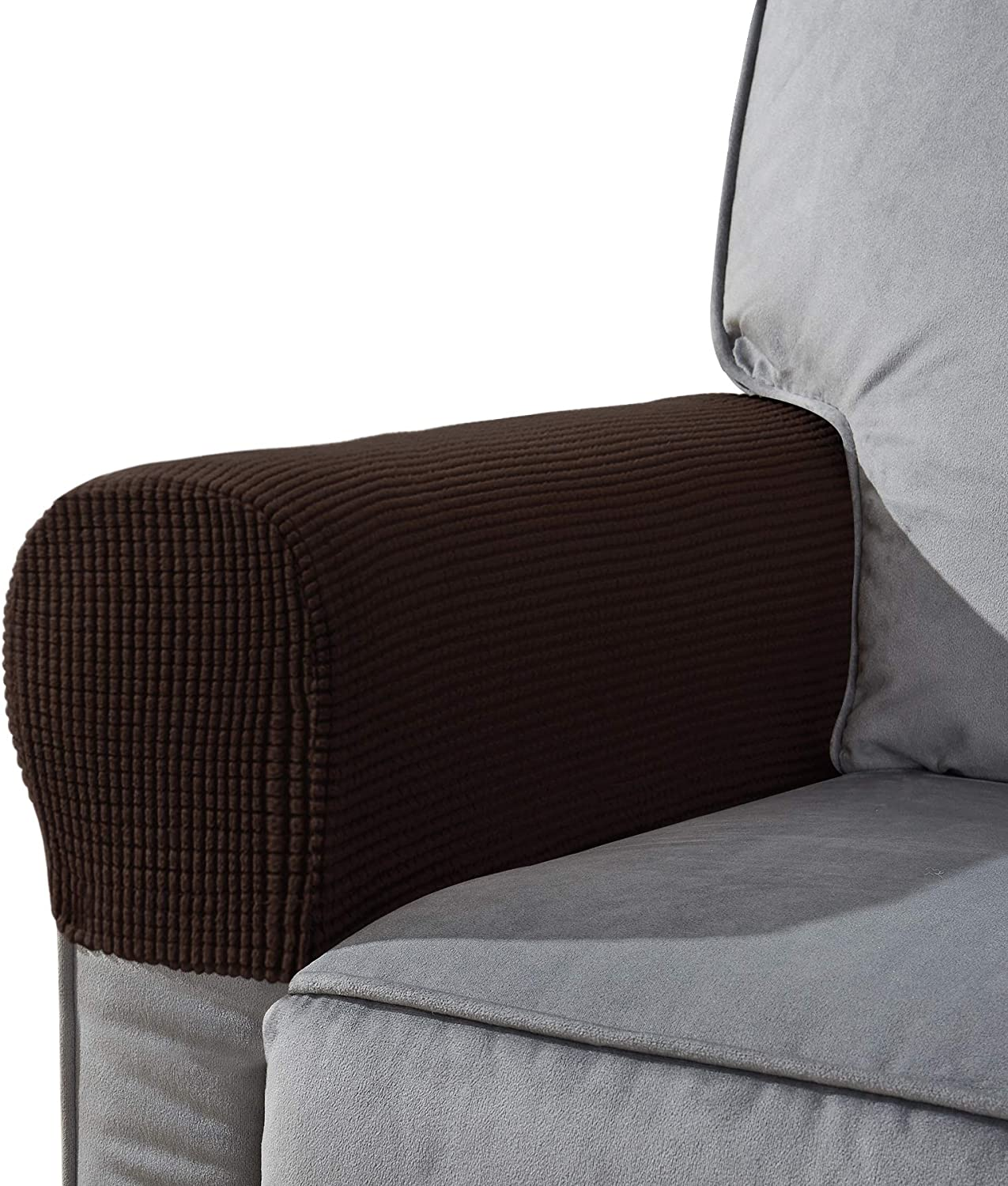 CHUN YI Set of 2 Stretch Polyester Sofa Armchair Armrest Covers Slipcovers Furniture Protector Spandex Fabric Jacquard Anti-Stain Washable Couch Arm Cover Slipcover (Armrest, Chocolate)